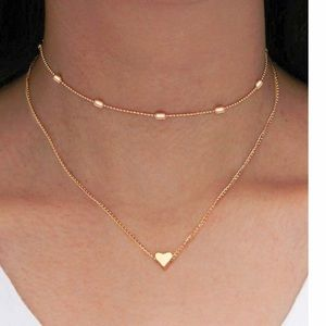 Women's Gold Heart and Beads Choker Necklaces